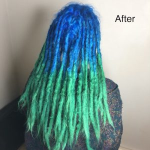 Vibrant colour dreads after