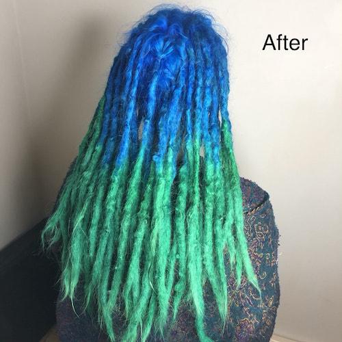 Vibrant colour dreads after