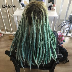 Vibrant colour dreads before