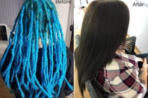 Dreadlocks removal and colour before after