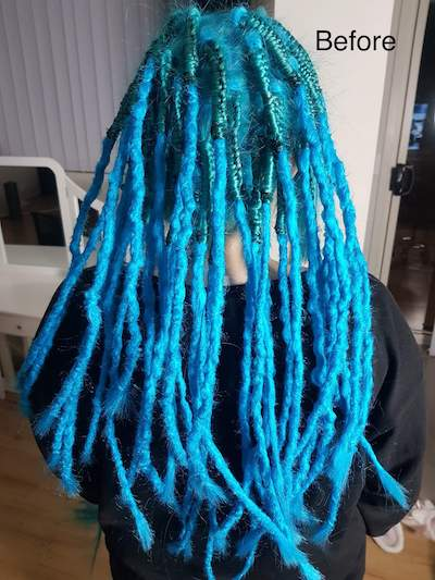 Dreadlocks removal and colour before